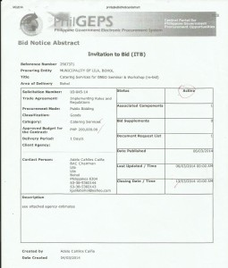 catering services bneo re-bid