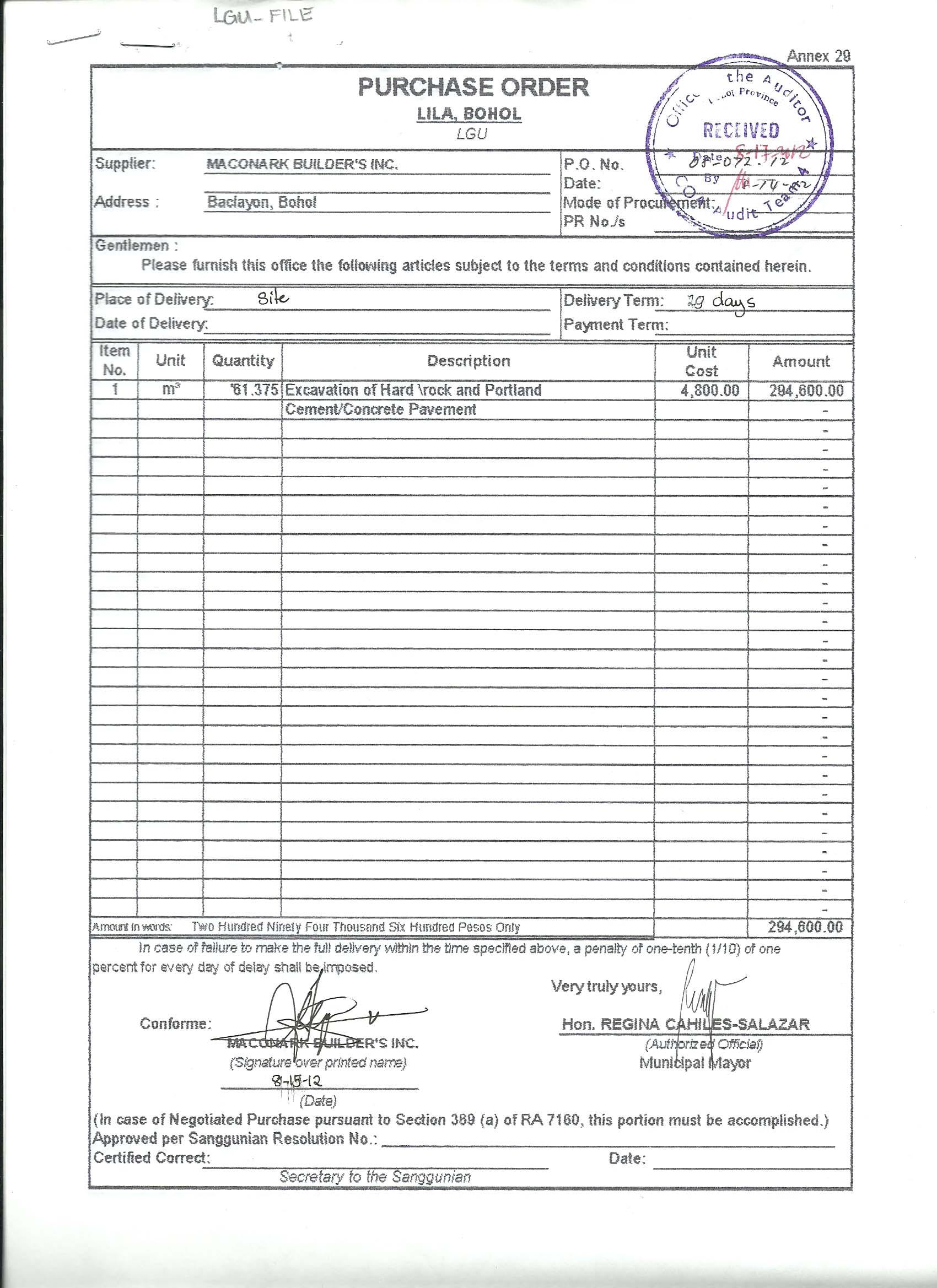 municipality of lila  bohol  purchase order